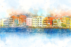 curacao, caribbean, favorite vacation spot watercolor art