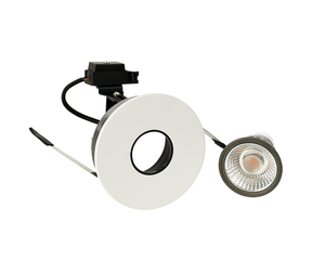 Round Recessed White Fix Pinhole Downlight IP20 w/o Honeycomb & Clear Glass,  GU10  c/w lamp