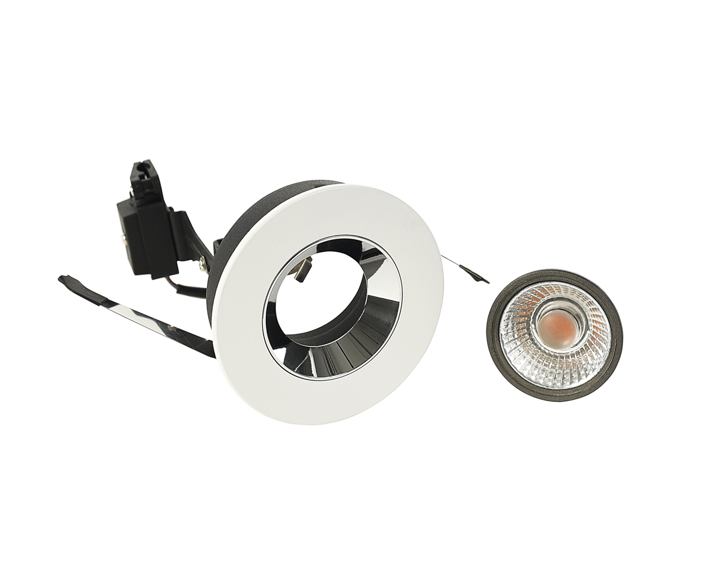 Recessed Round Fixed Downlight White Trim Frosted Glass D:100mm IP20 GU10  c/w lamp