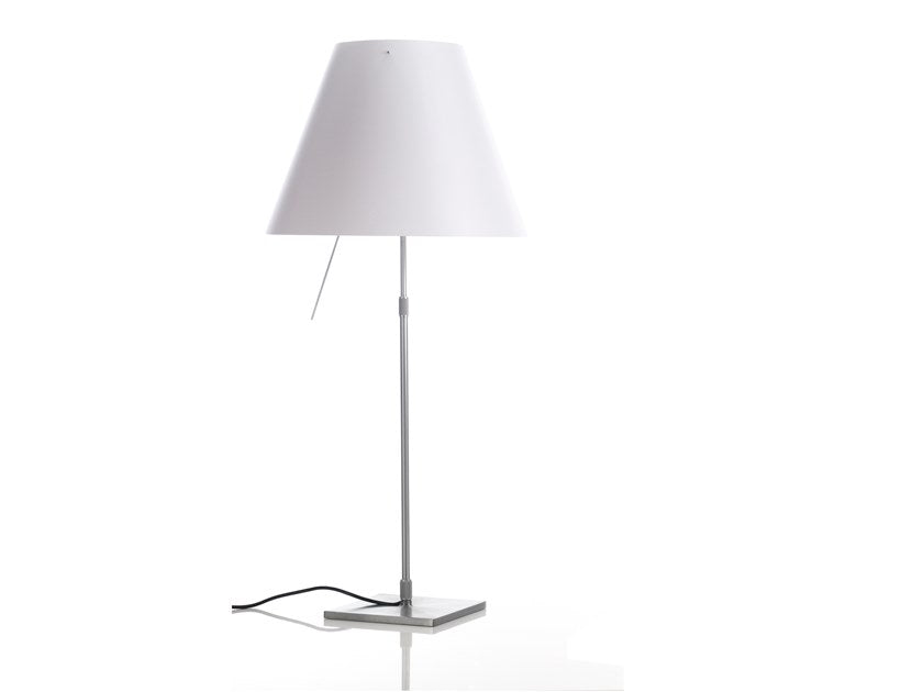 COSTANZA TABLE LAMP body alu and Concrete Grey Lampshade finish with dimmer