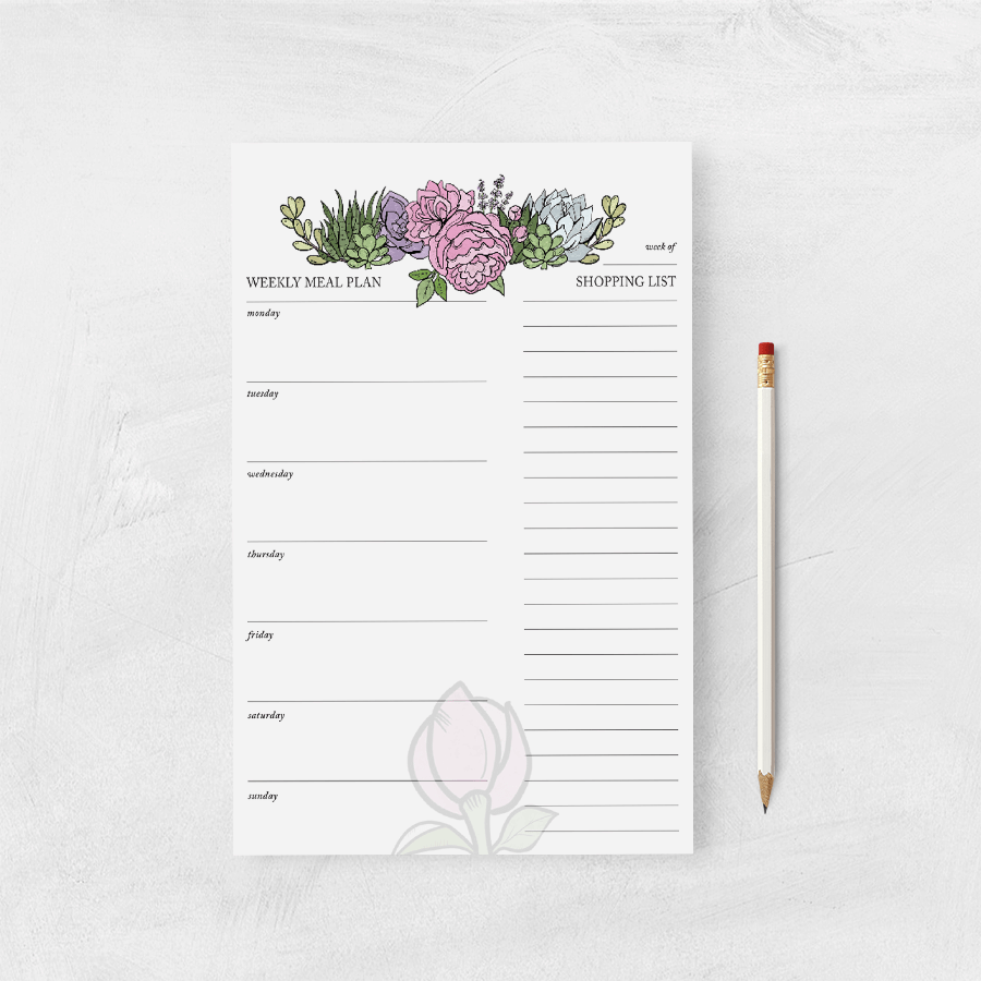 Shopping List/Meal Planner-Botanicals