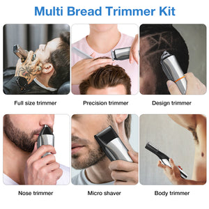 Phisco Hair Clippers Beard Trimmer for Men, Rechargeable Body Mustache Nose Hair Groomer Cordless Precision Trimmer 6 in 1 Grooming Kit for Men Kids and Family Use Wet & Dry
