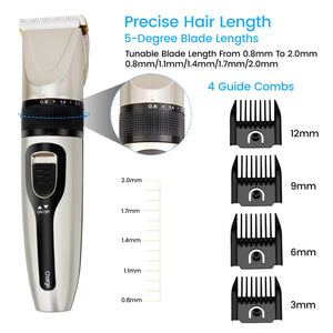 MR818 USB Rechargeable Mens Electric Hair Clipper Kit with 4 Guide Combs Gold