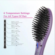 Load image into Gallery viewer, SweetLF Electric Straightener Brush Comb Hair Ceramic Iron Hair Tools Detangling Anti Static Fast Heating Hair Styling Accessory