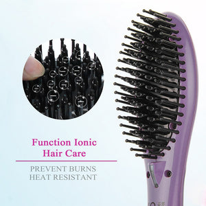 SweetLF Electric Straightener Brush Comb Hair Ceramic Iron Hair Tools Detangling Anti Static Fast Heating Hair Styling Accessory