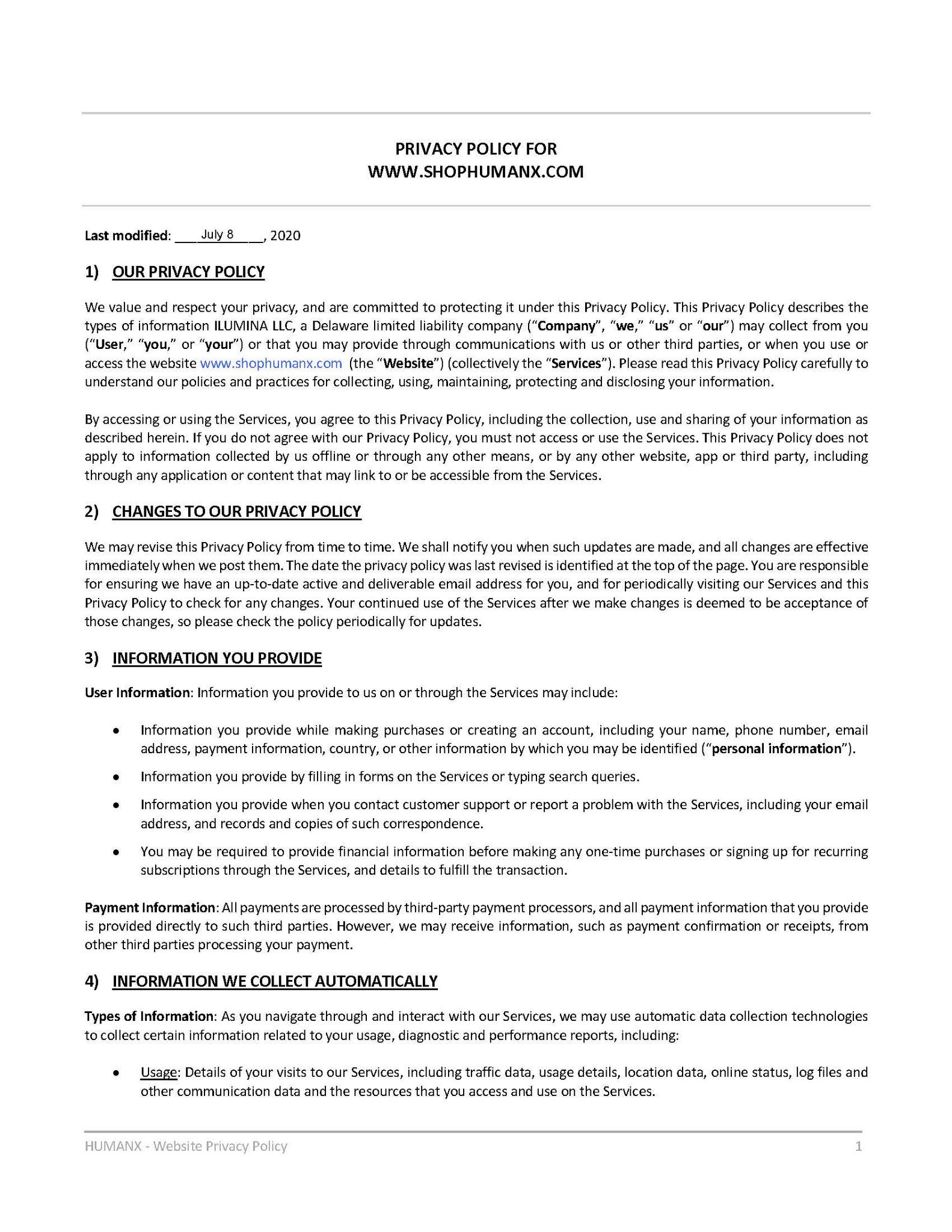 Privacy Policy - Page 1
