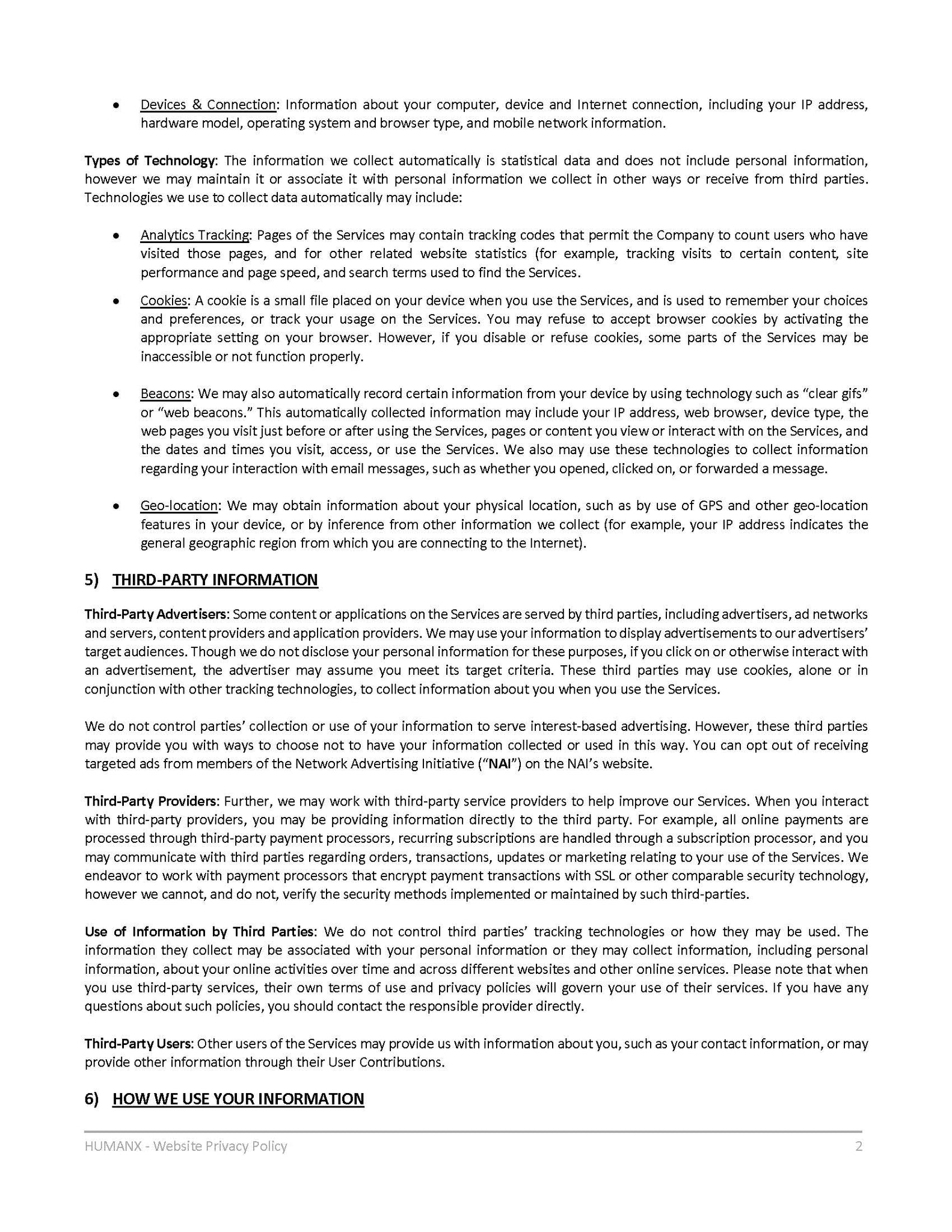 Privacy Policy - Page 2