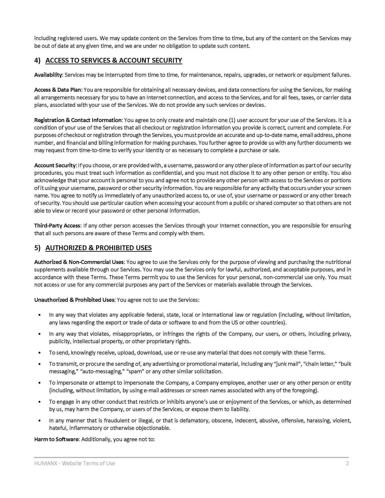 Terms of Use - Page 2