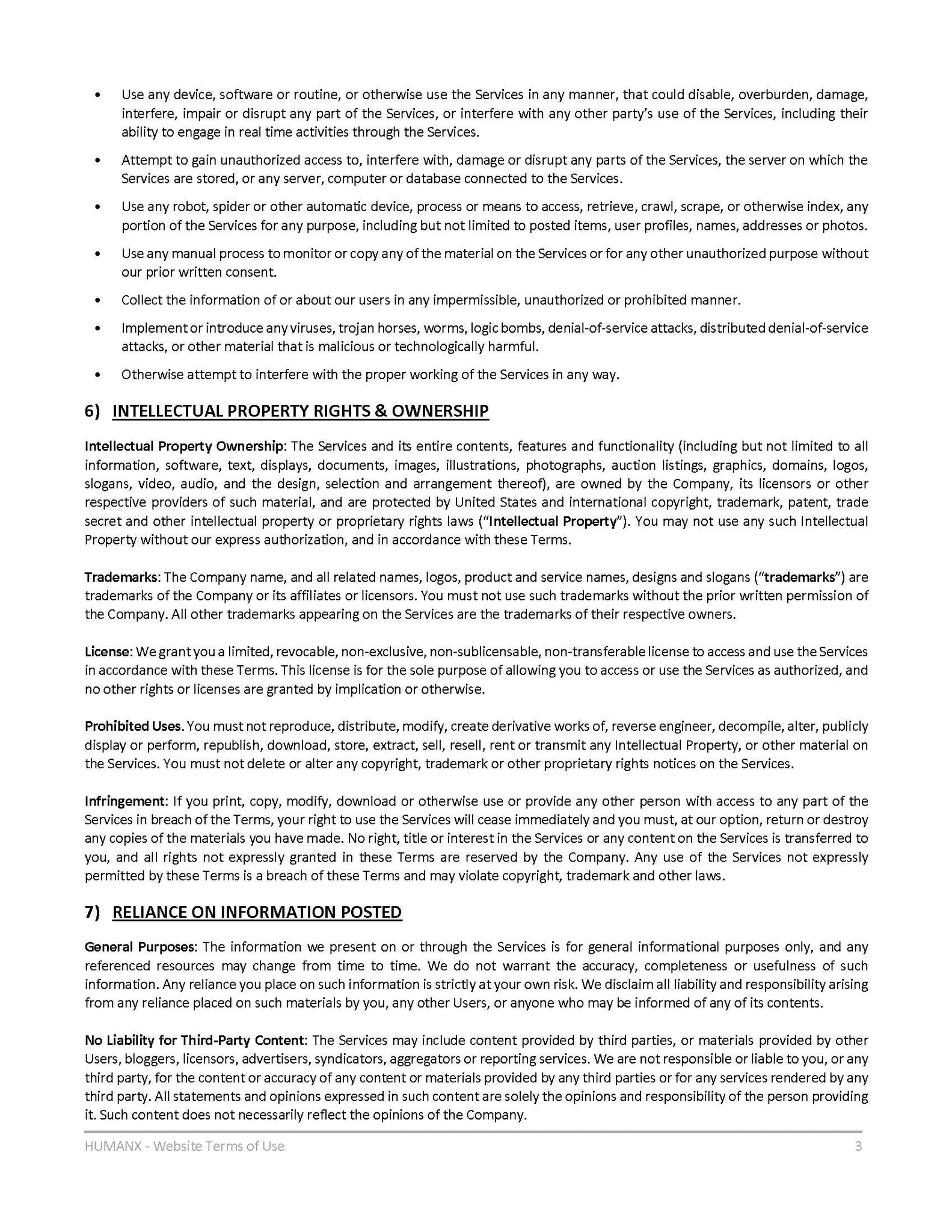 Terms of Use - Page 3