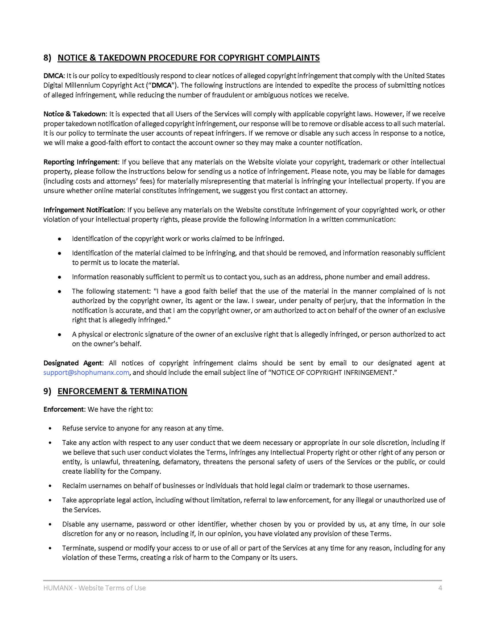Terms of Use - Page 4