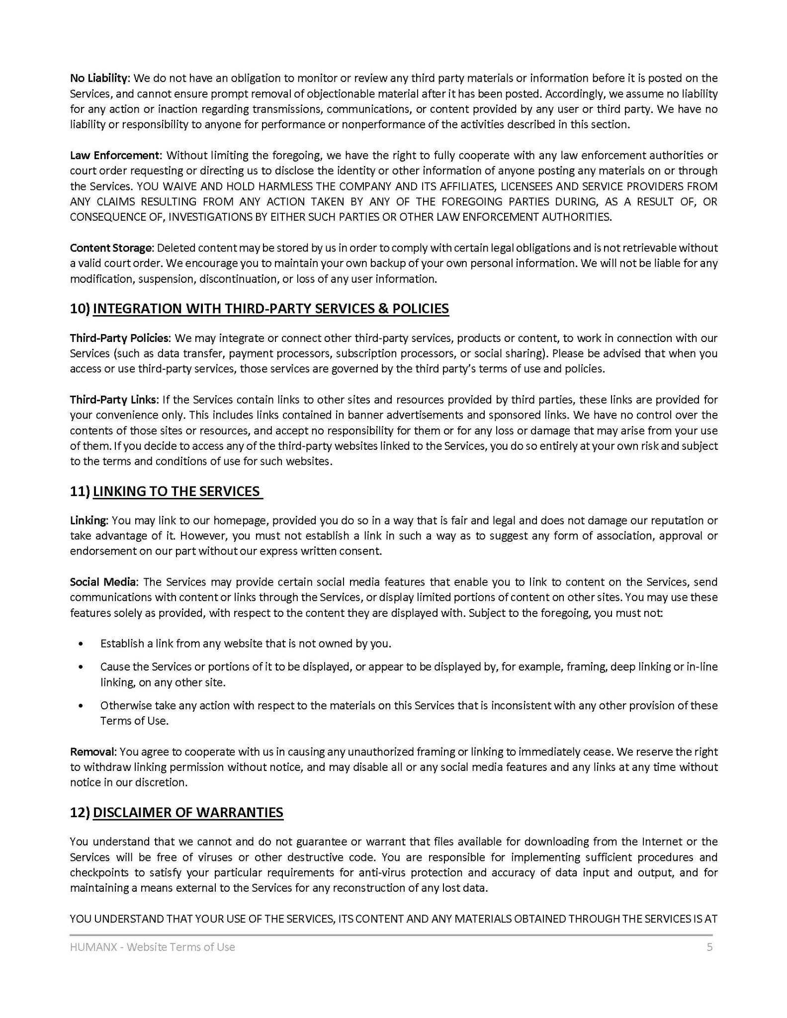 Terms of Use - Page 5