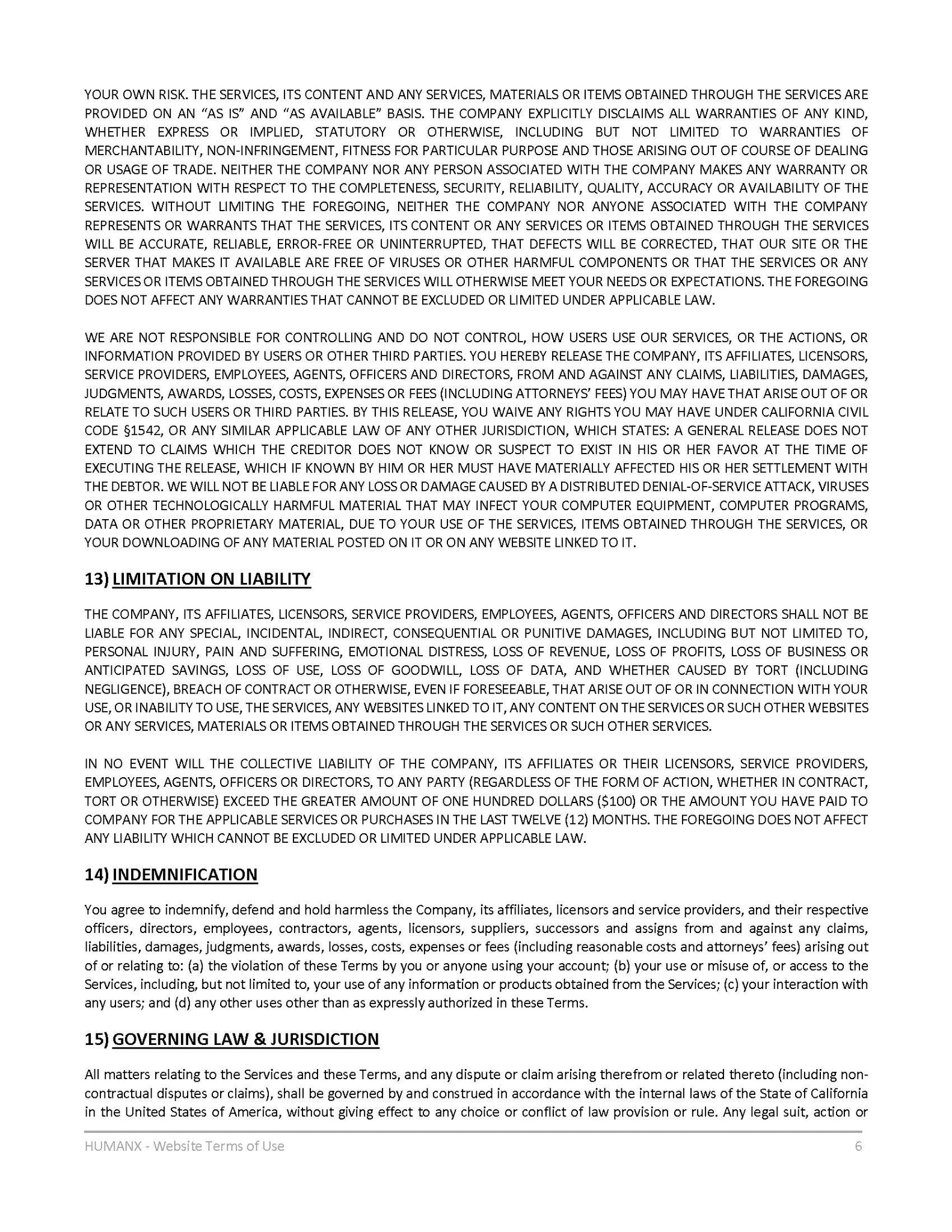 Terms of Use - Page 6