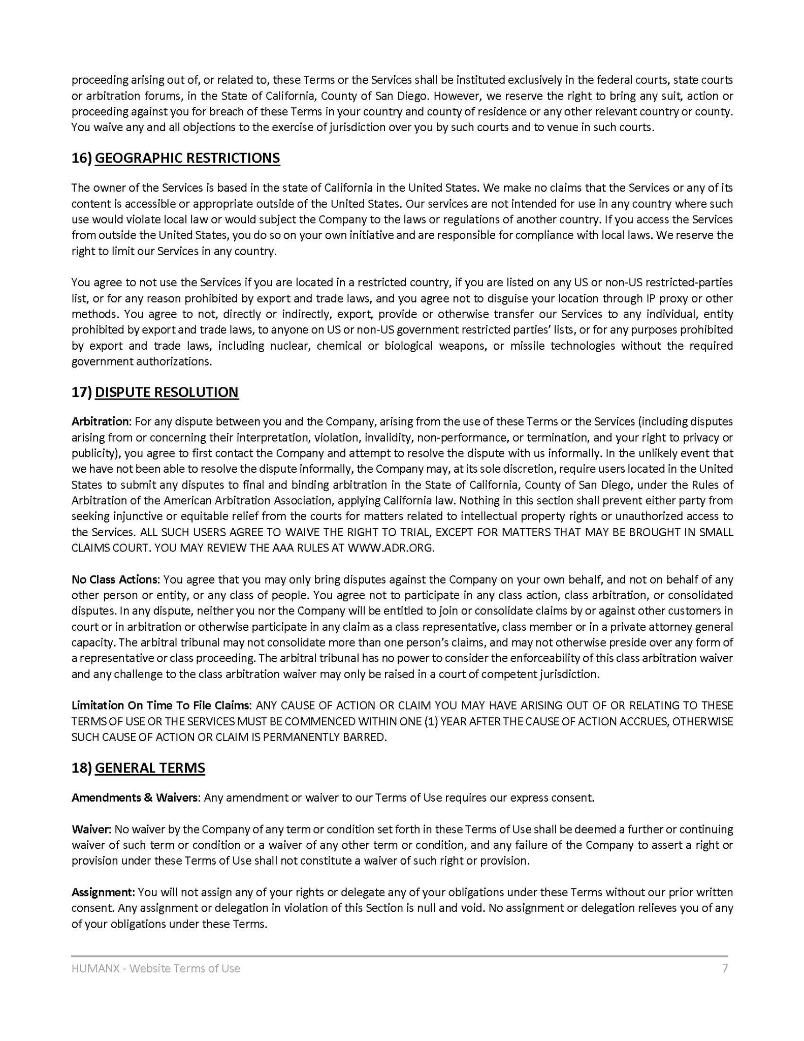 Terms of Use - Page 7