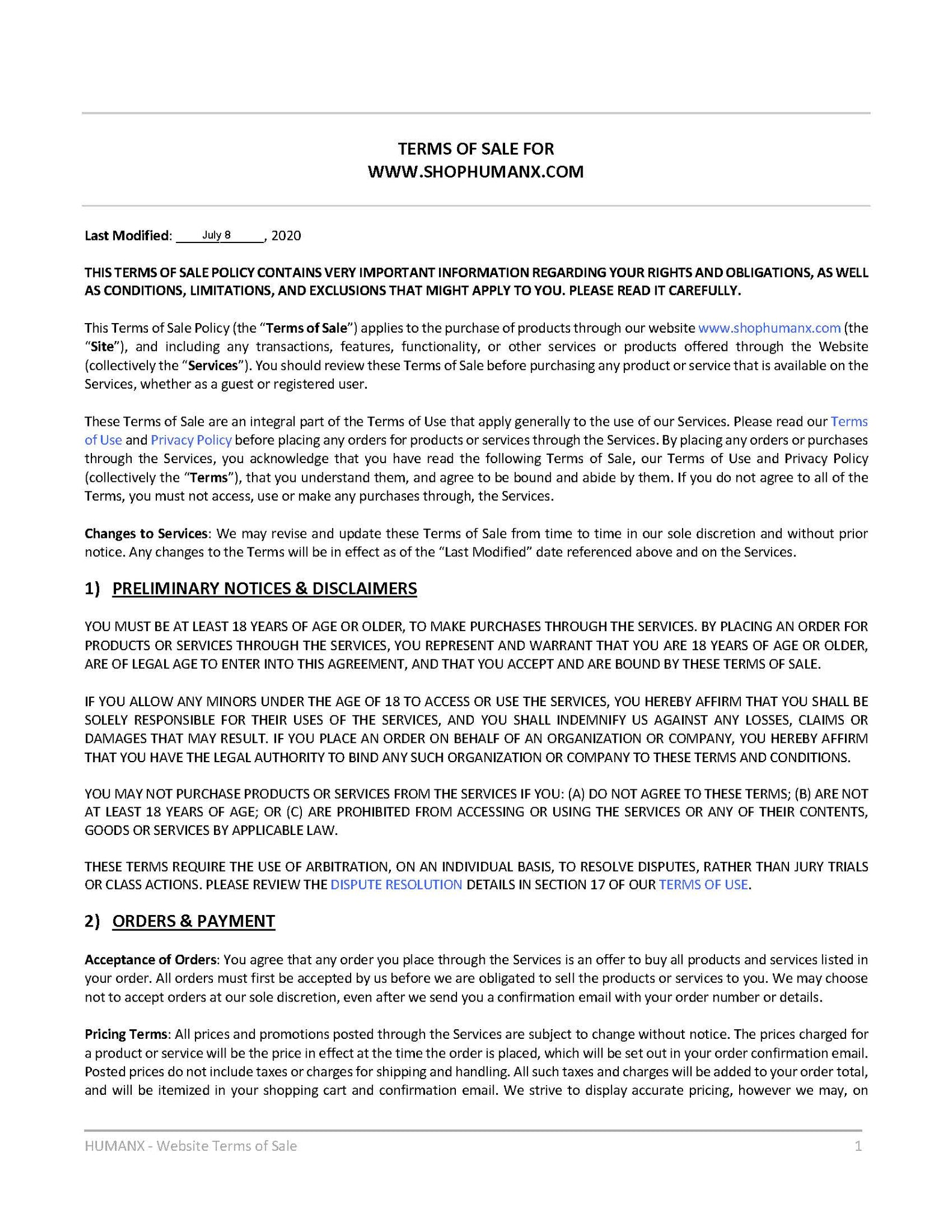 Terms of Sale - Page 1