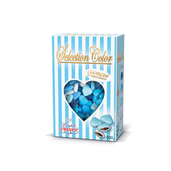 Cuoricini al cioccolato Selection Color celeste 500gr