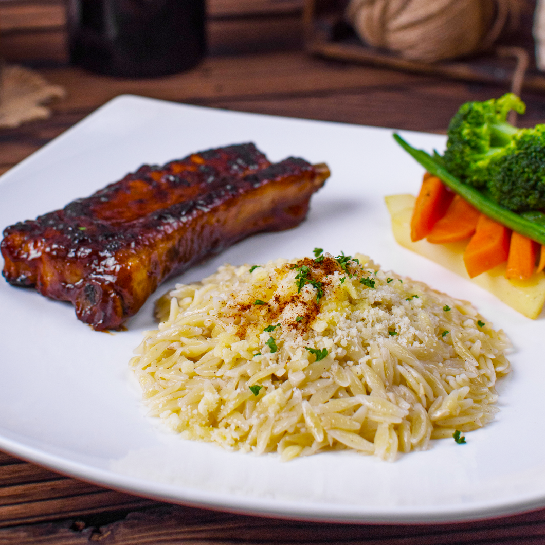 WOOD-FIRED RIBS w/ ORZO