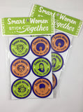 set of six orange/blue/green stickers with inclusive female images