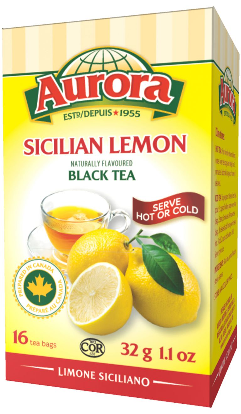 AURORA TEA BLACK SICILIAN LEMON16PC
