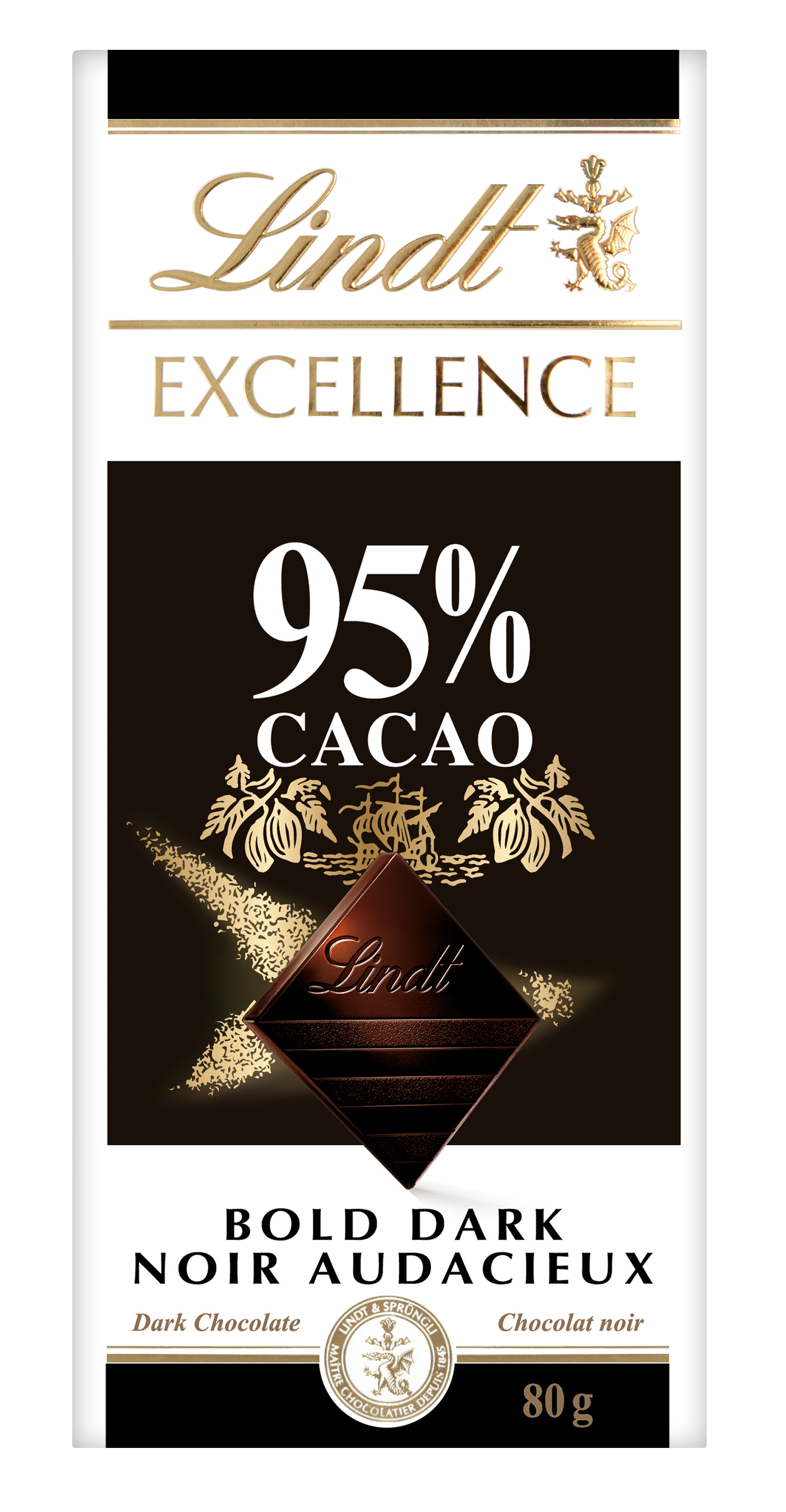LINDT EXCELLENCE 95% CACAO 80G