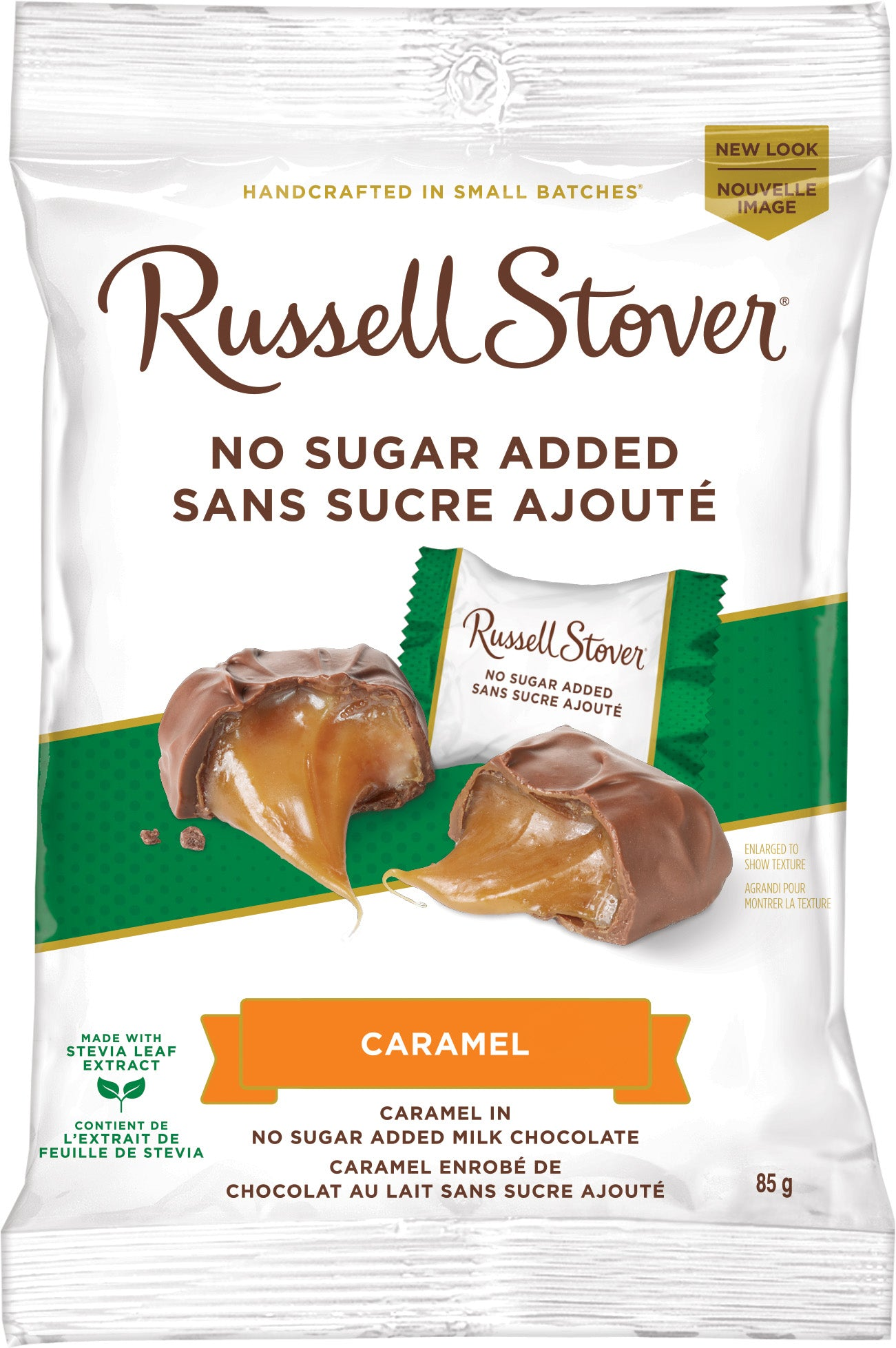 RUSSELL STOVER NSA MILK CHOCOLATE CARAMEL 85G
