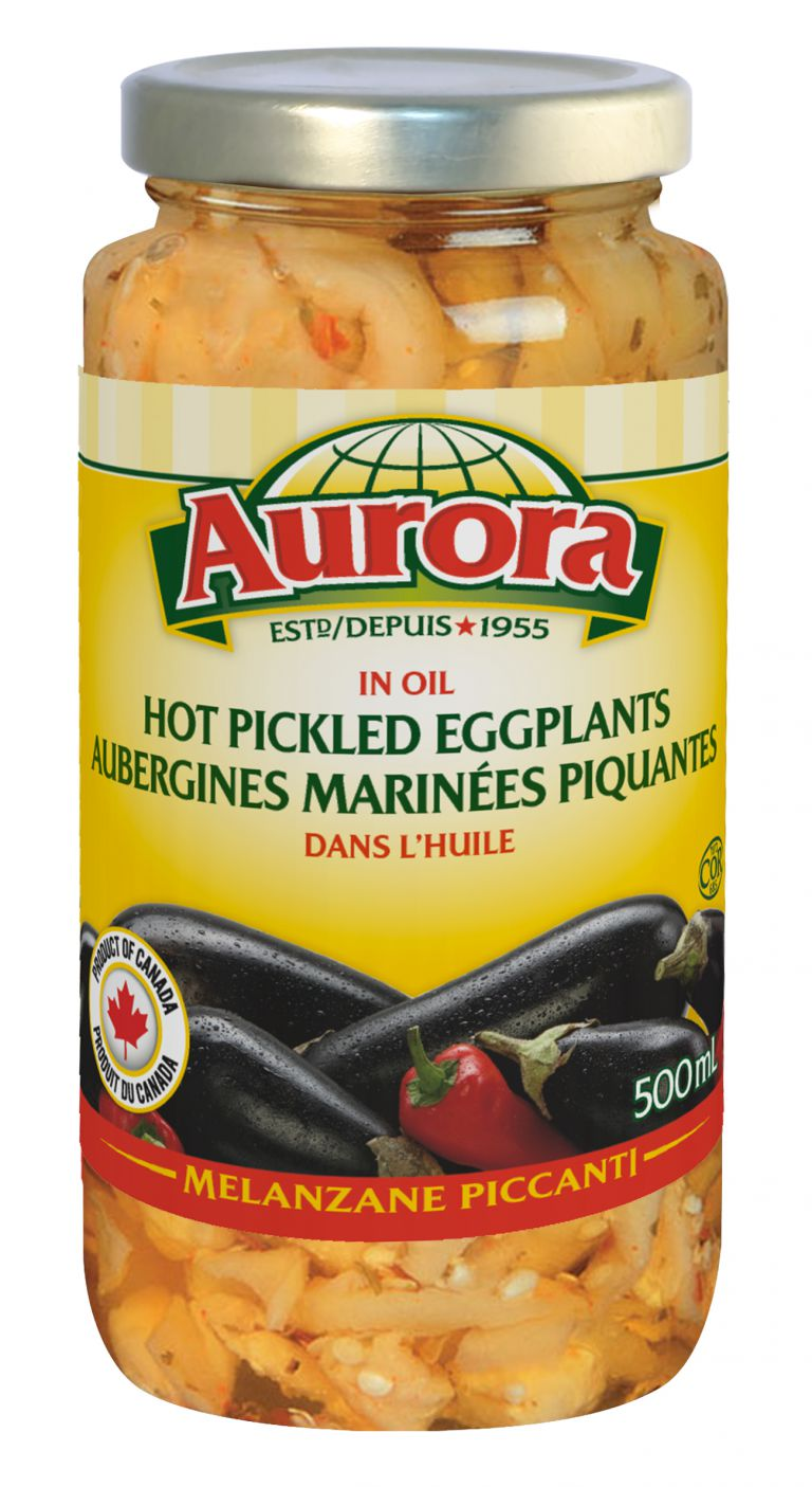 AURORA EGGPLANTS HOT PICKLED 500ML