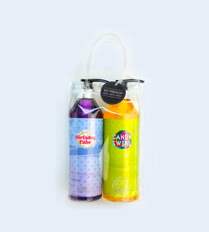 BIRTHDAY CAKE & CANDY SWIRL 2 PC SHOWER GEL BAG SET