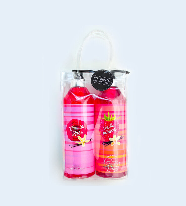 VANILLA ROSE & VANILLA RASPBERRY 2 PC SHOWER GEL BAG SET