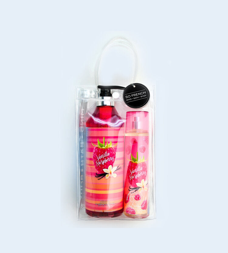 VANILLA RASPBERRY 2 PC  BODYMIST & SHOWER GEL BAG SET