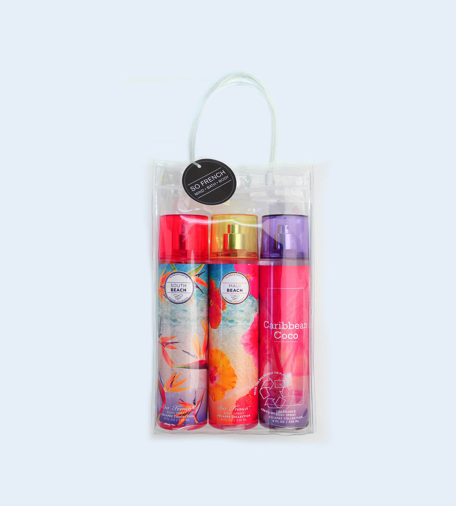 Load image into Gallery viewer, ESCAPES 3 PC BODYMIST SET (SOUTH BEACH, MAUI BEACH & CARIBBEAN COCO)