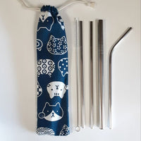 Reusable stainless steel straw set with pouch - Cats