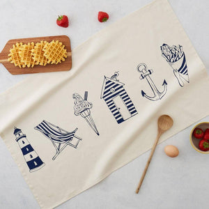 Nautical Beachscape Tea Towel - Bezar