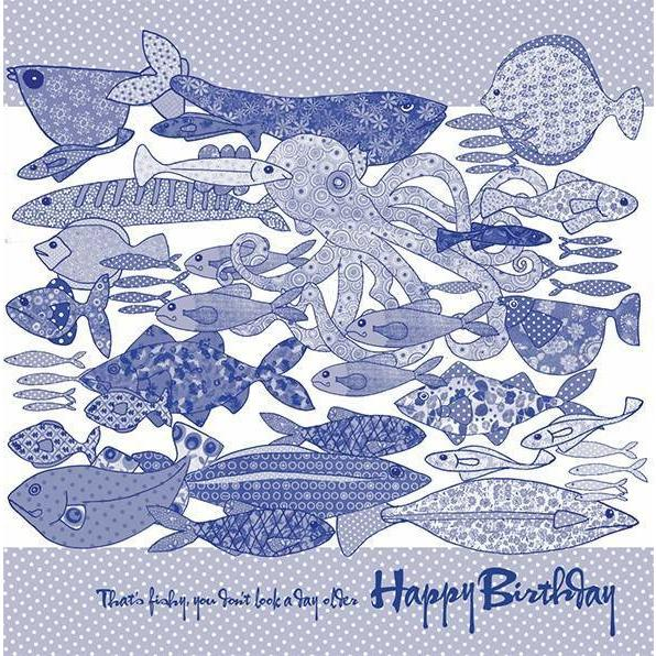 Blue Happy Birthday, that's fishy you don't look a day older | Card - Bezar