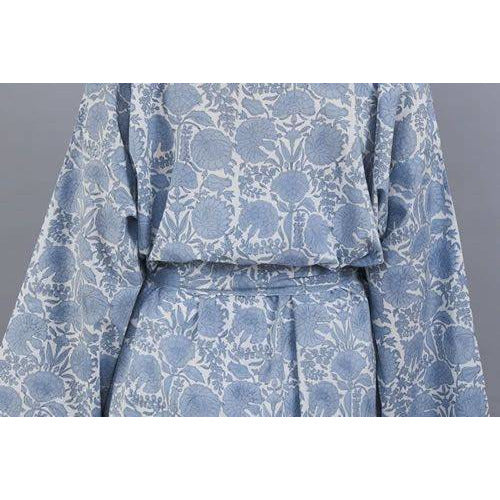 AMRITSAR new floral design cotton wrap bathrobe in chambray blue - Bezar