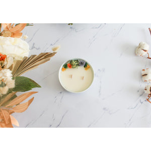 Dried flower candle - Precious wood
