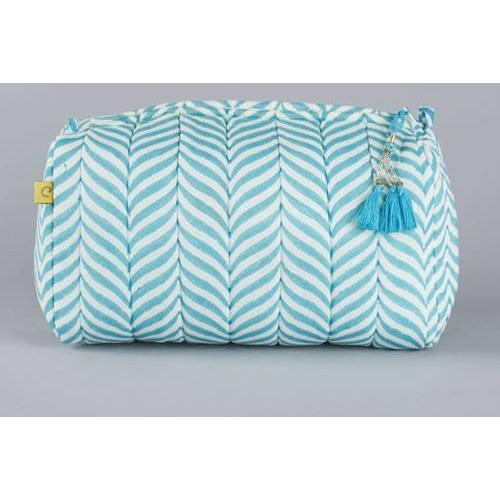 INDORE soft herringbone design quilted cotton voile wash bag - Bezar