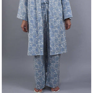 AMRITSAR floral design PJ trousers in Chambray blue - Bezar