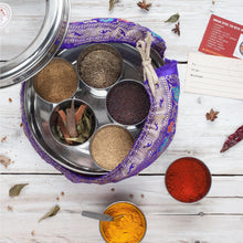 Load image into Gallery viewer, Indian Spice Tin with 9 spices & Handmade Silk Sari Wrap | Gift of the Year Winner - Bezar
