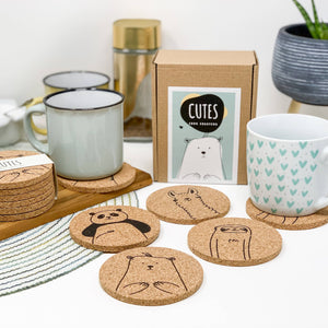 Cutes - Cork coasters, round, set of 6, eco-friendly cute animals