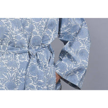 Load image into Gallery viewer, AMRITSAR new floral design cotton wrap bathrobe in chambray blue - Bezar