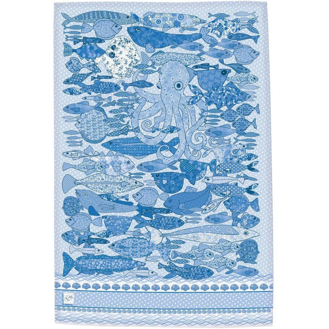 Something Fishy Blue | Tea towel - Bezar