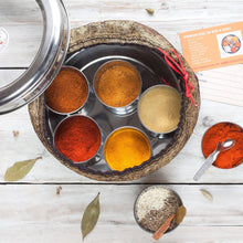Load image into Gallery viewer, Moroccan Spice Tin with 10 Spices & Handmade Silk Sari Wrap - Bezar
