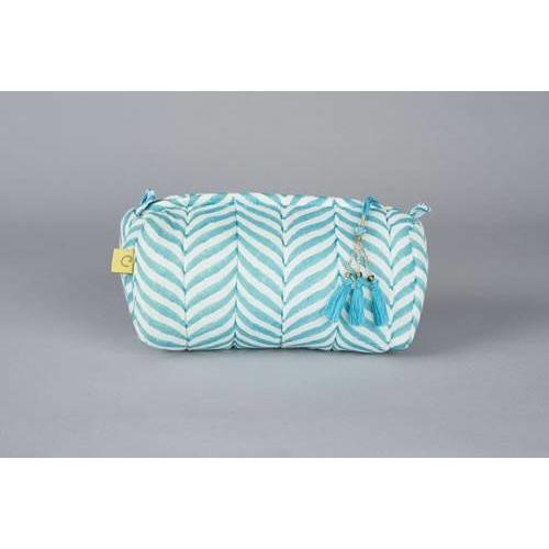 INDORE soft herringbone design cotton make up bag in aqua - Bezar