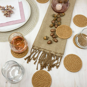FLOW - Cork coasters, round, set of 6, nature design