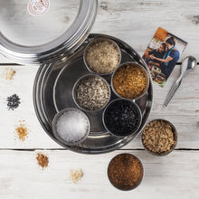 Load image into Gallery viewer, Halen Môn Flavoured Sea Salts Collection with 7 Flavoured Salts & and Stainless Steel Storage Tin - Bezar
