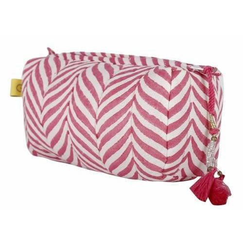 INDORE soft herringbone design cotton make up bag in Indian pink - Bezar