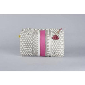 SANKARI geometric stripe design wash bag in pink and French grey - Bezar