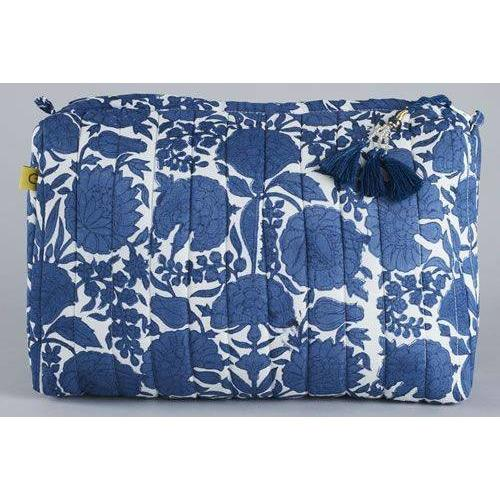 AMRITSAR floral blue design quilted cotton voile wash bag - Bezar