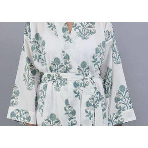 SAMODE floral cluster design bathrobe in soft teal - Bezar