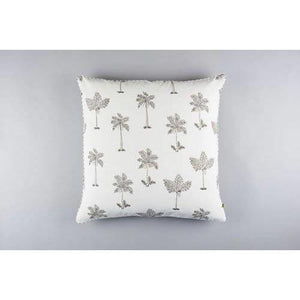 MARARI palms print cushion cover in French grey - Bezar