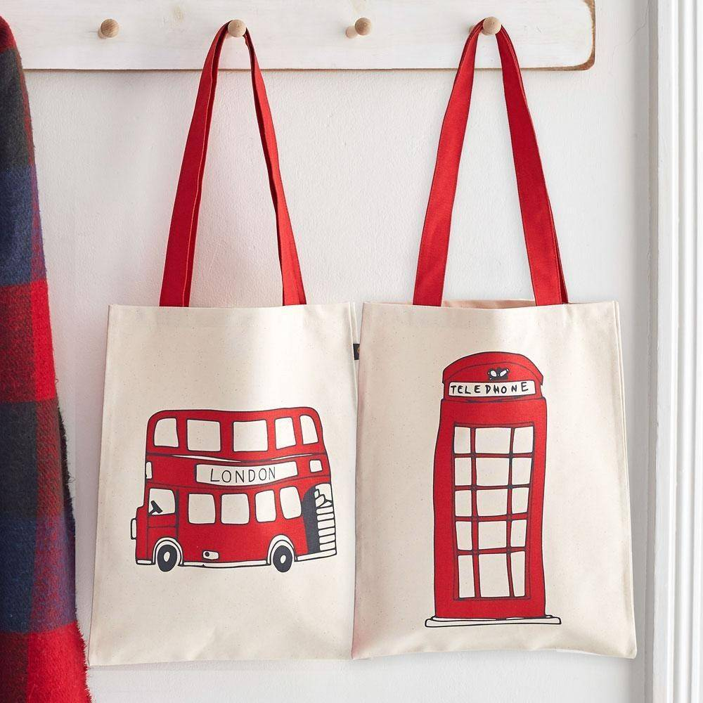 Telephone Box and London Bus Canvas Bag - Bezar
